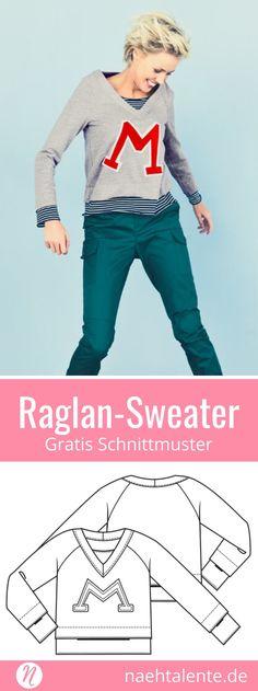 Raglan sweater for women – Freebook – Gr. Raglan Shirts, Raglan Pullover, Sewing Patterns Free, Free Pattern, Diy Fashion, Fashion Trends, Love Sewing, Sweater Hoodie, Hoody