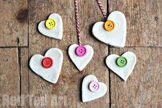 Button Salt Dough Hearts - back to basics. with these oh so simple Salt DOugh Hearts decorated with colourful buttons and baker's twine! Kinder Valentines, Valentine Activities, Valentine Day Crafts, Christmas Activities, Christmas Crafts, Salt Dough Christmas Decorations, Felt Christmas, Homemade Christmas, Xmas