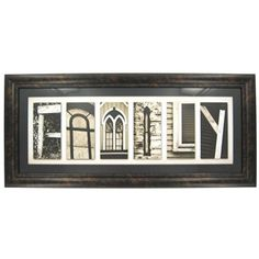 This beautiful framed art piece uses black and white photos of different architectural elements to spell the word Family. A photo of a wood fence creates the letter F. The A is formed from an ornate, rounded window with bold grilles. Two adjacent gothic-style windows makes the letter M. A thin specialty window fashions the letter I. The corner of a window forms the letter L and two adjoined pieces of plywood make the letter Y. The print is enclosed in a simple black and bronze frame and ...