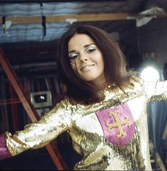 Ali MacGraw in gold sequins by Milton Greene