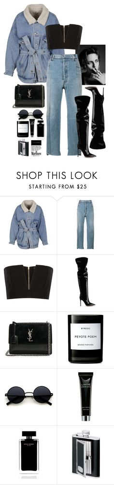 """So Good To Be Bad"" by callmegammy ❤ liked on Polyvore featuring Marcelo Burlon, Vetements, Balmain, Gianvito Rossi, Yves Saint Laurent, Byredo, Narciso Rodriguez, SP Black, Winter and baddie"
