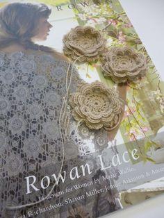 Rowan Fine Lace Flowers Lace Flowers, Crochet Flowers, Fabric Flowers, Irish Crochet, Crochet Motif, Free Crochet, Cable Knitting Patterns, Lace Knitting, Needle Tatting