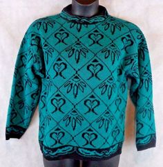Rattino Wool Blend Sweater From Italy Woman's Size Medium Green and Black  #Rattino #Crewneck