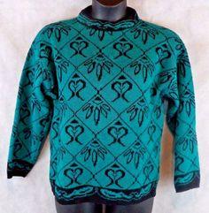 Rattino Wool Blend Sweater From Italy Woman's Size Medium Green and Black  #Rattino #Crewneck