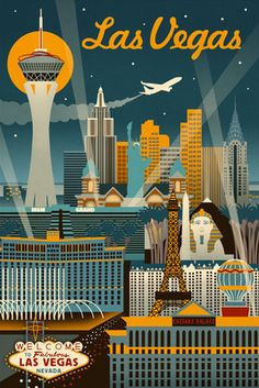 Las Vegas, Nevada - Retro Skyline - Lantern Press ArtworkQuality Poster Prints Printed in the USA on heavy stock paper Crisp vibrant color image that is resistant to fading Standard size print, ready for framing Perfect for your home, office, or a gift Vintage Advertisements, Vintage Ads, Art Deco Posters, Retro Posters, Photo Vintage, Poster S, Vintage Travel Posters, Grafik Design, Illustrations And Posters