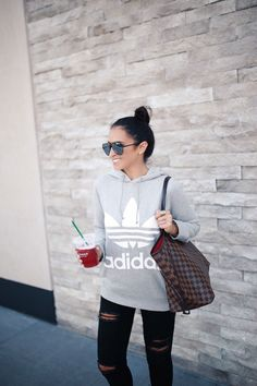 Gray Adidas Original Trefoil Hoodie and Adidas EQT Support Adv Sneaker Grey Adidas Hoodie, Adidas Trefoil Hoodie, Gray Adidas, Grey Hoodie, Sneakers Fashion Outfits, Sporty Outfits, Cute Outfits, Calvin Klein Outfits, Tank Top Outfits