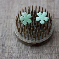 Fleur - Ceramic earrings sea green