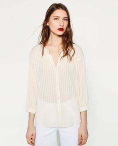 Image 2 of RUSTIC FABRIC BLOUSE from Zara