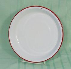 Vintage Red and White Enamel Enamelware Graniteware 10 Inch Pie Plate