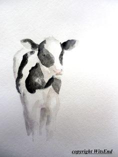Calf cow painting original watercolor nursery Farm by 4WitsEnd, via Etsy