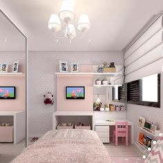 Ideas for Decorating a Little Girl's Bedroom with Pink! Neon Bedroom, Pink Bedroom Decor, Room Design Bedroom, Small Room Bedroom, Dream Bedroom, My Room, Girl Room, Girls Bedroom, Feminine Bedroom