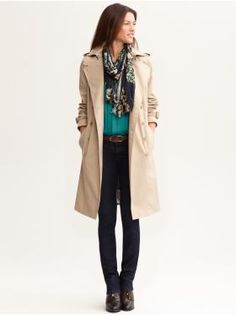 Women's Apparel: outfits we love | Banana Republicwhat makes this work is the softness, unlike others where the shapes are more carefully balanced.Soft pleat shirt and soft matching scarf with the classic trench. Notice these jeans are skinny yess but straight leg. Cooll middle of the road variant. I think I shall get a pair.