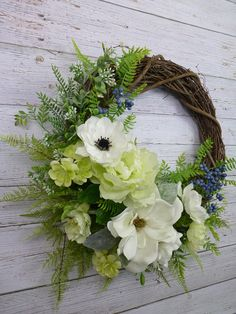Magnolia Wreath Spring Wreaths For Front Door Wreahs Hostess Gift for New Homeowners Gift Grapevine Outdoors Wreaths Everyday Wreath (spring wreaths magnolia) Spring Door Wreaths, Easter Wreaths, Summer Wreath, Wreaths For Front Door, Christmas Wreaths, Christmas Tree, Moss Wreath, Grapevine Wreath, Diy Wreath