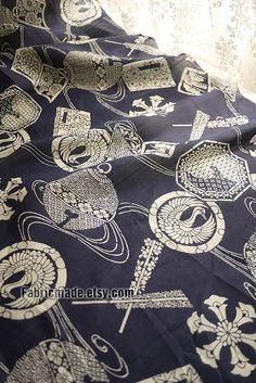 Vintage Navy Blue Cotton Fabric Japanese Kimono by fabricmade, $5.00