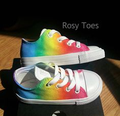 A Stunning blended Rainbow Design  Handpainted onto genuine converse. Design is washable, washing with a damp cloth is recommended however to maintain the water-resistant finish  Feel free to add colour/ order of colours requests