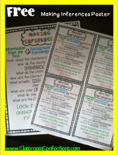 FREE Making Inferences Poster | Printable File Folder Games, Other Fun Classroom Activities