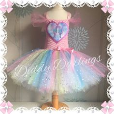 Sparkly Satin and Chenille Tutu Dress. Trolls Costume Dress. Inspired Handmade Dress.All Sizes Fully Customised Any Characters Or Colours. by DiddyDarlings on Etsy