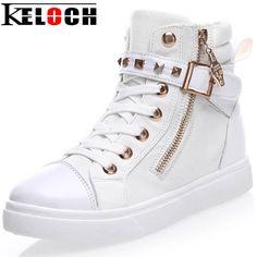 Keloch Europe Style High-Top Flat Women Fashion Canvas Shoes Zipper Casual Women Shoes Ladies White Espadrilles Zapatillas Mujer
