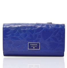 FOSSIL-Dawson-All-Leather-Flap-Clutch-Wallet-Blue-Floral