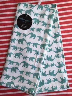 SET OF 2 KITCHEN TEA DISH TOWELS Elephants Print By CYNTHIA ROWLEY NEW