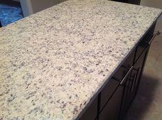 Dallas White granite countertops with dark cabinets - LOVE - EXAMPLE OF OUR OPTION #1