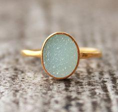 Aqua Blue Druzy Ring