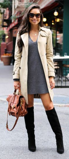 Kat Tanita looks uber cute in a grey V neck sweater dress and a cream trench coat.   Dress: Calypso St Barth, Boots: M. Gemi, Coat: Burberry.