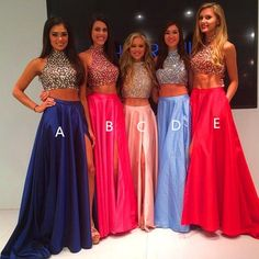 High Neck Two Piece Pink Taffeta Long Prom Dresses 2016 Front Split Mid Section Dark Blue Beadings Sexy Evening Prom Gowns,Showing Navel Formal Women Dresses,Graduation Dress Prom Dresses 2016, Prom Dresses Blue, Pretty Dresses, Beautiful Dresses, Evening Dresses, Sexy Dresses, Bridesmaid Dresses, Prom Gowns, Blush Dresses