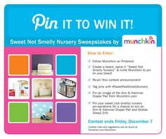 Win an Arm & Hammer Diaper Pail by Munchkin and Stokke Sleepi Crib in the #SweetNotSmellyNursery Campaign. Contest ends Dec. 7! Visit us on Facebook or at Munchkin.com.