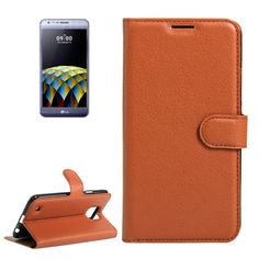 [$2.40] For LG X Cam Litchi Texture Horizontal Flip Leather Case with Holder & Card Slots & Wallet(Brown)