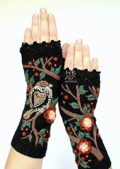 Crafter Natalija Brancevičienė creates knitted fingerless gloves that add a colorfully quirky touch to a winter outfit.