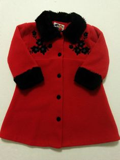 Petes Partner - Baby Girls - Red Coat Size 24 mo - Black Faux Fur Trim Floral Details #PetesPartner #Coat #DressyEveryday  ..... Visit all of our online locations.....  www.stores.ebay.com/ourfamilygeneralstore .....  www.bonanza.com/booths/Family_General_Store .....  www.facebook.com/OurFamilyGeneralStore