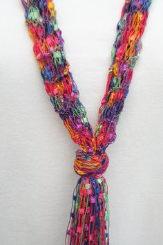 Free Pattern Ribbon Yarn Scarves Not Crochet Crafts
