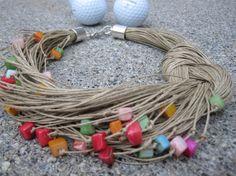 Collar de lino natural multicolor arco iris rojo por espurna88
