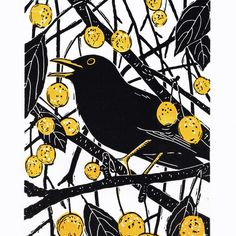 Blackbird - 'Hidden in the Crab Apples' - Original limited edition hand cut linocut print. Linoprint, Handprint Art, Art Graphique, Linocut Prints, Bird Prints, Woodblock Print, Bird Art, Printmaking, Illustration Art