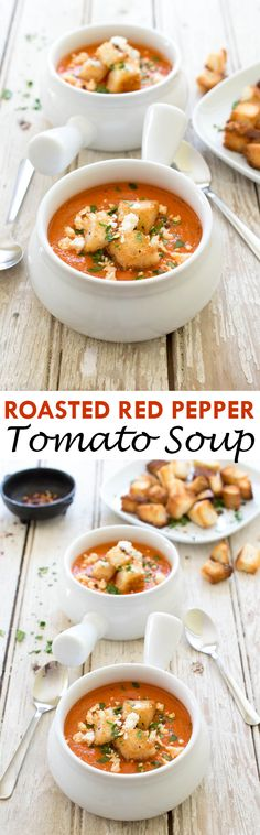 Business Cookware Ought To Be Sturdy And Sensible Super Rich And Creamy Roasted Red Pepper And Tomato Soup. An Easy Weeknight Meal That Takes Less Than 30 Minutes To Make. Roasted Red Pepper Soup, Roasted Red Peppers, Stuffed Pepper Soup, Stuffed Peppers, Soup Recipes, Copycat Recipes, Veggie Recipes, Appetizer Recipes, Recipies