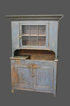 A beauty! Early Mid-19th Cen. 2-Piece Pa. Dry Sink Cupboard