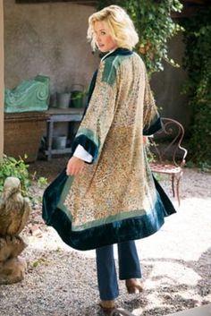 Velvet Burnout Duster - Velvet Duster, Kimono Sleeve Duster | Soft Surroundings