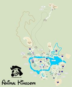 KennythePirate's Animal Kingdom Map including Fastpass Plus locations, rides, shows, characters, dining and shopping