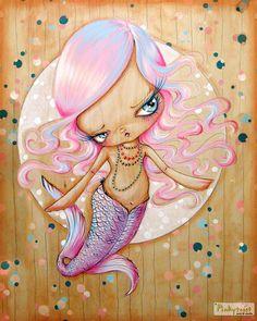 Big Eyed-Mod Mermaid Girl in Sea of Bubbles-Pinkytoast Art Print-8x10