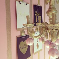 pink + gold glitter striped walls // clipboard gallery wall