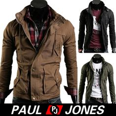 Military Jackets Men's Stylish Slim Fit Winter Casual Coats Keep warmth Hoodie