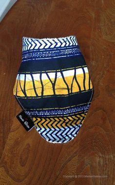Blue/yellow African print bandana bib backed with by MamanGateau, £8.50