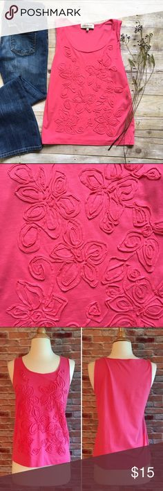 """Hot pink monotone floral tank A perfect layering piece to carry you all the way through summer, this hot pink top just screams happy💕 In excellent condition. 25.5""""L. 17"""" bust laying flat. Material tag removed for comfort. Feels like a stretch cotton blend. Size Small. Jones New York Tops Tank Tops"""