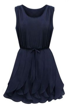Navy Sleeveless Ruffles Pleated Chiffon Dress @Pascale Lemay Lemay Lemay Lemay De Groof