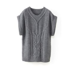 Short-Sleeved Cable Knit Tunic Sweater, 40% Alpaca Petrol blue+Grey marl+Dark red+Pale pink+Black