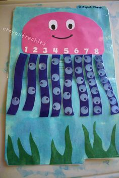 Preschool under the sea theme - have kids put the right number of dots on the tentacles. Math Classroom, Kindergarten Math, Teaching Math, Learning Activities, Preschool Activities, Preschool Printables, Preschool Learning, Classroom Ideas, Under The Sea Theme