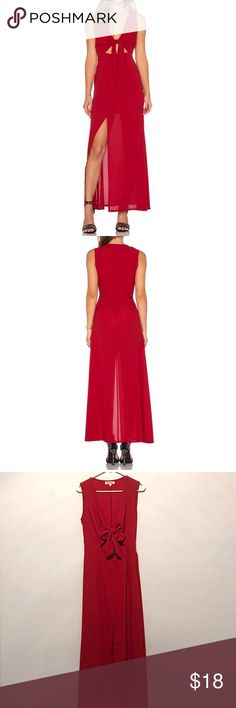 """WYDLR Red All Wrapped Up Maxi Dress Beautiful self-tie maxi dress with cut-out detail and front slit. Partially lined. The dress is more of a wine color rather than red. I am 5""""10 and the dress ends right below my ankles, almost hitting the floor. Worn once & in great condition! wyldr Dresses Maxi"""