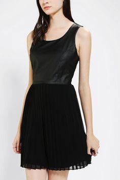 Sparkle & Fade Vegan Leather-Bodice Pleated Dress