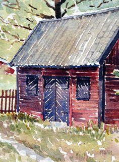 Kyrkstallet (detalj), akvarellmålning av Alicia Sivertsson - www.aliciasivert.se Arches, Cabin, House Styles, Home Decor, Art, Art Background, Decoration Home, Room Decor, Cabins